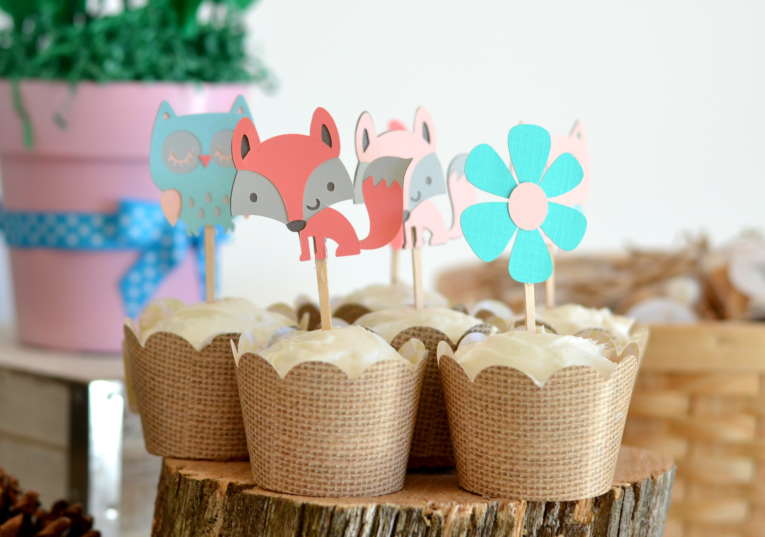 girl fox cupcake toppers