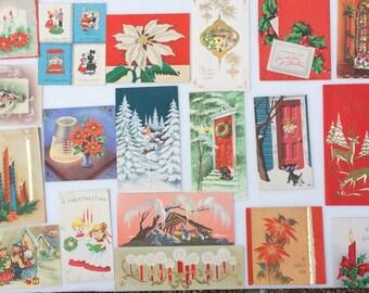 Lot of 19 Vintage Christmas Cards Deer Singers Snow Scenes