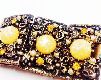 Vintage Massive Baroque Rococo Revival Confetti Yellow Lucite Figural Brutalist Rhinestones Pearls Ornate Filigree Panel Bracelet