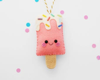Coral Ice Pop Felt Decoration, Hanging Ornament, Ice Lolly, Kawaii Accessory
