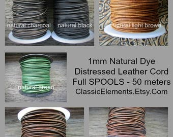 SPOOLS 1mm Round Leather Cord, Full Spools, Leather Cord, 1mm Leather, Round Leather Cord, Natural Dye Leather, The Classic Bead, 1.0