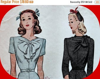 Sale:) UNCUT * 1940's McCall  Pattern 5778  * Misses Asymmetrical Draped Bodice Dress * FACTORY FOLDED  - Size 12 - Bust 30