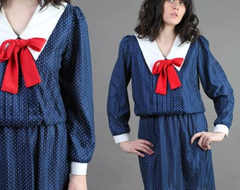 vintage NAUTICAL+COLLAR dolly bow ASCOT peter pan polka dot sailor mini dress 80s 1980s small medium S M