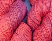 Persimmon and Raspberry - Hand Dyed Superwash Merino Sock Yarn - SUPER SQUISHY!