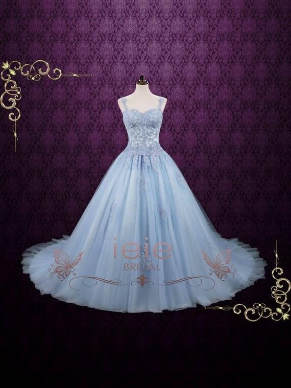 Powder Blue Cinderella Ball Gown Wedding Dress Blude