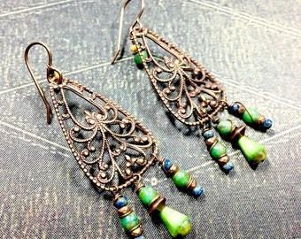 Lime Green Boho Earrings, Brass Filigree Bohemian Earrings, Dangle Earrings, Green Earrings, Hippie