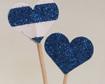 Blue Sparkle Heart Cupcake Toppers, Appetizer Picks