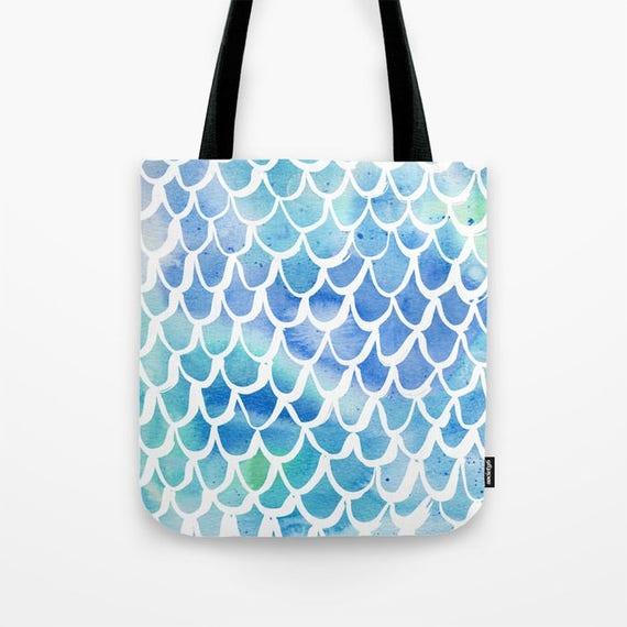 Tote bag Blue Mermaid tote bag Watercolor tote bag White Mermaid tote bag tote Canvas bag Shopping bag Sea green tote bag Summer bag