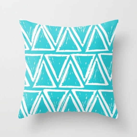 OUTDOOR Throw Pillow - Turquoise Outdoor Pillow - aquamarine patio cushion - Geometric Pillow Triangle -  16 18 20 inch - Outside Pillow