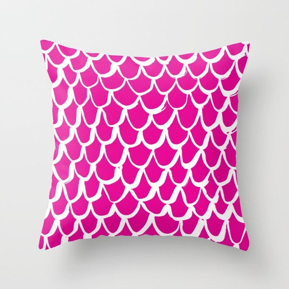 Magenta Mermaid Throw Pillow . Pink and White Pillow . Magenta Cushion . Mermaid Pillow . Pink Pillow . Mermaid Cushion 14 16 18 20 inch