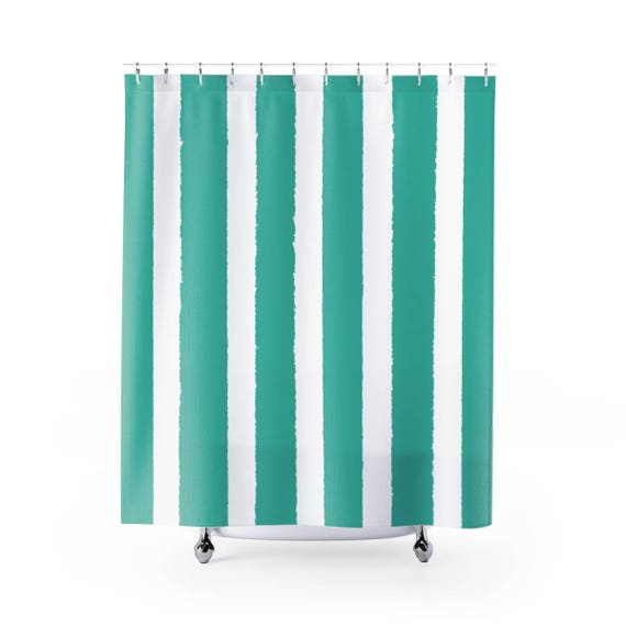 Turquoise Shower Curtain . Turquoise Striped Shower Curtain . Modern Turquoise Shower Curtain . Shower Curtain . Jade Striped Shower Curtain