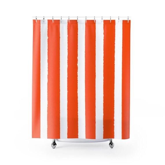 Orange Shower Curtain . Orange Striped Shower Curtain . Modern Orange Shower Curtain . Shower Curtain . Orange Striped Shower Curtain