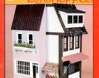 """Les Shoppes 1"""" to 1' Scale Dollhouse Plan Book Retail Store Front Awning Craft Pattern Book"""