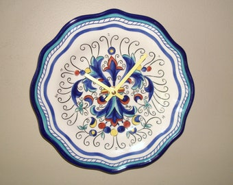 8-5/8 Inch Navy and Teal Mediterranean Patterned Wall Clock, Silent Ceramic Plate Clock, Kitchen Clock, Mediterranean Home Decor - 2383