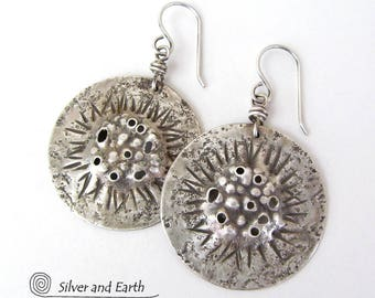 Handmade Sterling Silver Earrings, Edgy Earrings, Oxidized Silver Earrings, Rustic Earthy Organic Silver Jewelry, Solid Sterling Earrings