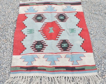 Antique Kilim Woven Wool Rug or  Wall Hanging