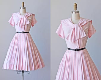 50s Dress - Vintage 1950s Dress - Soft Pink Cotton Sailor Shirtwaist Dress w Full Skirt L - Escapades Dress