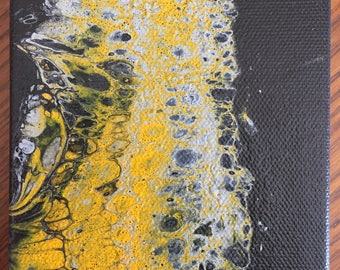 """Mini Pour flow art abstract painting - 4"""" x 6""""  black, yellow, grey"""