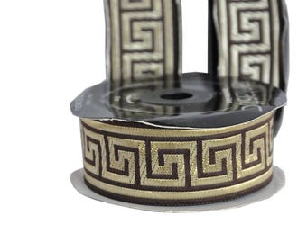 Brown and Gold  Greek Key Jacquard Ribbon  Trim