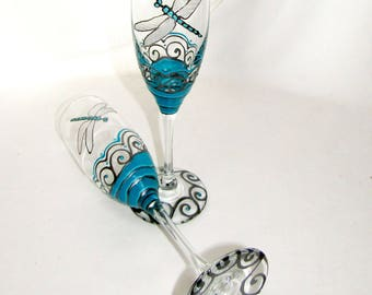 Dragonfly Champagne Flute Glasses Hand Painted Glassware Personalized Toasting Flutes ~ Pair