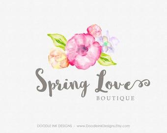 Logo Design, Flowers Premade Logo, Photography Business Branding Logo, Logo Modern Design, Watercolor Flowers, Florist Flowers