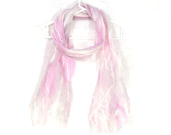 Cobweb Felted Scarf, Handmade Wool Winter Scarf, Pastel Pink White, Long Womens Scarf, Winter Fashion Accessory, Gift for Her, Feminine