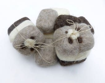 Felted soap set of three soap scrubbers ready to ship