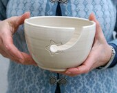 IN STOCK - Stoneware pottery yarn bowl with little star hook in simply clay