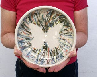 Butterfly splatter pattern bowl - hand thrown stoneware pottery