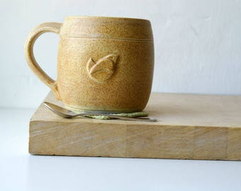 One extra large little wren mug - hand thrown stoneware glazed in natural brown