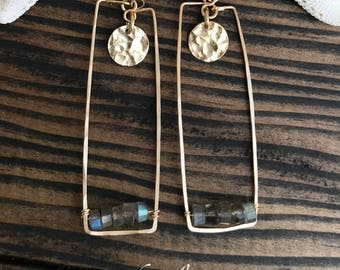 14k gold filled RECTANGLE LABRADORITE hammered disc earrings. Made in Hawaii USA. Perfect gift bff gf bride bridesmaid mother in law wedding
