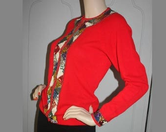 Vintage 60's Red Sequin Wool Sweater. Medium.