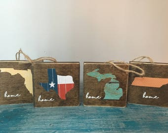 home ornament, state ornament, home state gift, Michigan ornament, Texas, Florida, Tennessee, rustic wood, Christmas decor, wooden ornament
