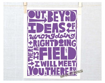 Rumi, Out Beyond Ideas of Wrongdoing and Rightdoing there is a Field, Rumi Field Quote, Wall Art, Graduation Gift Ideas,
