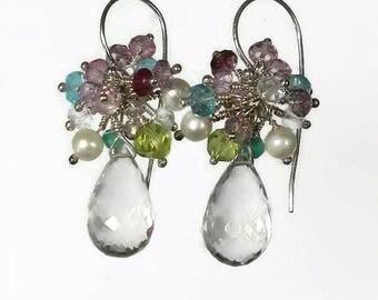 Multicolor Earrings Multicolor Gemstone Earrings Green Amethyst Earrings Gemstone Cluster Earrings