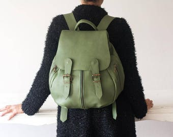 Green leather backpack, greenery travel backpack back bag women daypack knapsack everyday large  - Artemis backpack