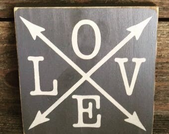 Love with Arrows wood sign