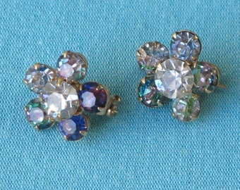 Pair Tiny Brooches Scatter Pins 1950s Faceted Iris Crystal Rhinestones