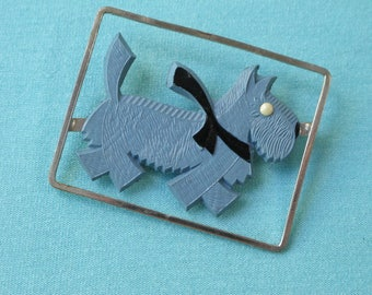 1930s Pin Brooch Blue Celluloid Art Deco Scottie Dog Scotty Art Deco Made in Japan Label