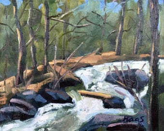 Rushing Creek - 8 x 10 - Plein Air - Tahoe - Original Oil Painting - Cottage Chic - Landscape - Home Decor - Wall Art - Blue