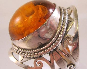 SHIPS 6/26 w/FREE Jewelry Big Amber Sterling Silver Open Work Ring Size 7.5 Vintage Jewelry Jewellery