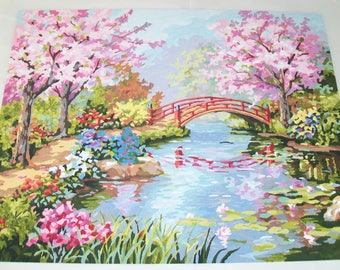Handpainted Picture, from paint by number kit, apple blossoms