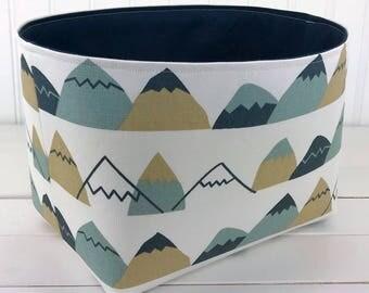 Nursery Decor,Fabric Storage Bin,Organizer Basket,Bin,Woodland Fabric Basket Bin,Mountains,Beige,Navy Blue,Dark Blue,Grey,Woodland,Adventure