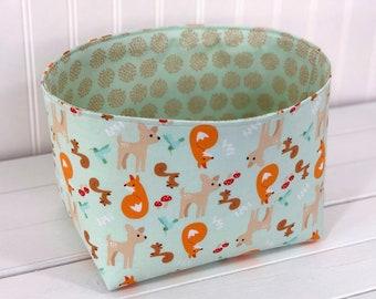 Woodland Nursery Storage Basket Nursery Decor Fox Home Decor Deer Kids Room Decor Baby Shower Gift Gray Mint Grey