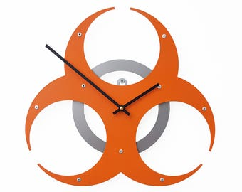 Biohazard I, Medium, Unique Wall Clock, Modern Wall Clock, Steampunk Wall Clock, Industrial Home Decor, Metal Art Gift, Walking Dead, Orange