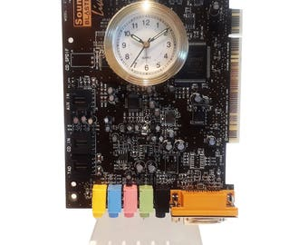 """Alarm Clock from Recycled """"Sound Blaster"""" Circuit Board. Colorful Components. Got Geek Award, Unusual Gift, Musician Gift, Rocker Gift?"""