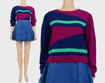 Vintage 70s 80s Color Block Sweater | Geometric Striped Sweater | Puffy Sleeves Knit Top | Modern Art 1980s Jumper | Purple Green | size S M