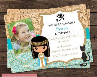 Cleopatra Egyptian Photo Birthday Party Invitation