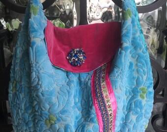 Velvet Chenille, Aqua, Pink, Vintage Roses Handbag
