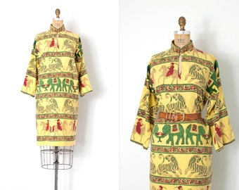 vintage 1970s dress /  indian cotton 70s ethnic dress / animal print / small medium s m